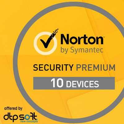 NORTON SECURITY PREMIUM 2019 10 Geräte 1 Jahr PC/Mac 10 PC 2018 DE Internet