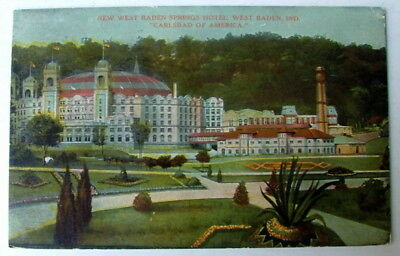 WEST BADEN SPRINGS HOTEL INDIANA IN 1907 POSTCARD #fg111