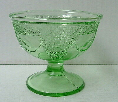 Vintage Green Depression Georgian Lovebirds Sherbet Sherbert Dish Federal Glass
