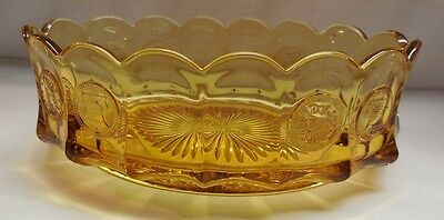 AMBER/GOLD COIN FOSTORIA OVAL BOWL GLASS VINTAGE