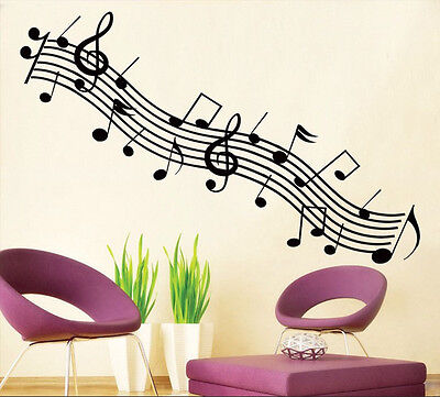 Removable Music Notes Vinyl Wall Sticker Aat Home Room Decor Decal