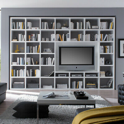 wohnzimmer wohnwand hochglanz wei fernsehschrank cd dvd b cherregal anbauwand eur. Black Bedroom Furniture Sets. Home Design Ideas