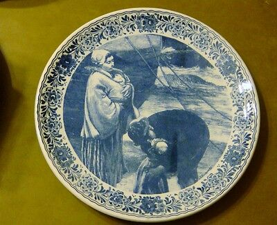 "Delfts Blauw Rarer 13 1/4"" Wall Plate /Charger- Mother & Father w/Children Scene"