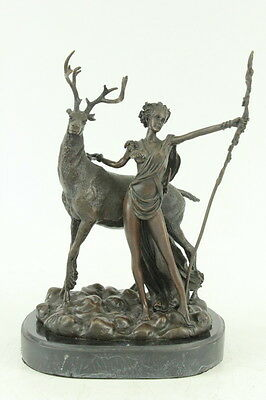 Signed Bronze Statue Nude Woman Diana Goddess Sculpture Figurine Mythical Stag
