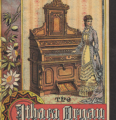 Ithaca Piano & Organ Co 19th Century Factory View Train Advertising Trade Card