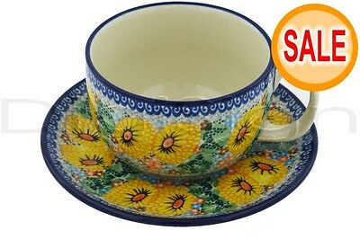 Polmedia Polish Pottery 13 oz Stoneware Cup with Saucer H8809G Unikat