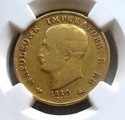 1810 / 09 Gold Kingdom Of Napoleon Italy 40 Lire Coin Ngc Very Fine 30