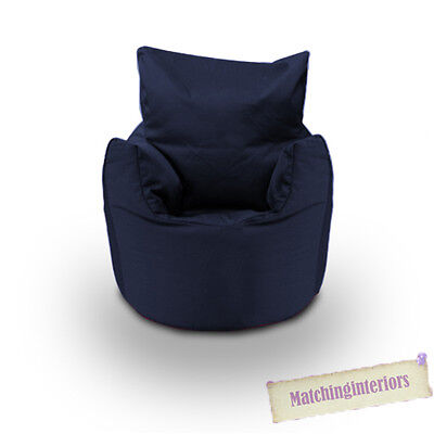 Navy Cotton Children's Kids Toddlers Filled Beanchair Bean Bag Chair with Beans