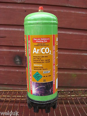 Argon / Co2 Disposable Gas Bottle 2.2 Ltr Cylinder @ 100 bar E89