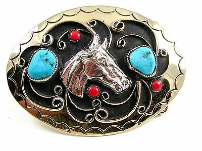 Handcrafted Western Cowboy Horse Head Coral Turquoise Belt Buckle USA