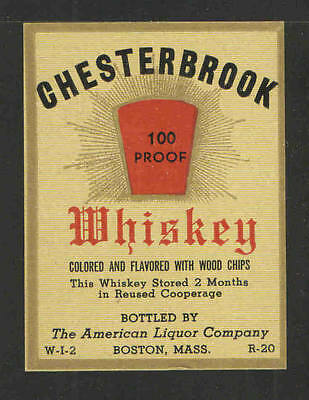 Chesterbrook Whiskey Antique Bottle Label - Unused