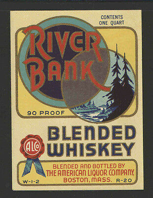 RIVER BANK BLENDED WHISKEY 1 Quart ANTIQUE BOTTLE LABEL - UNUSED