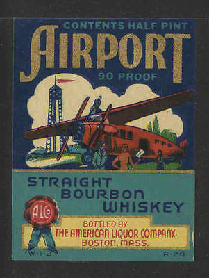 AIRPORT STRAIGHT BOURBON WHISKEY 1/2 Pint ANTIQUE BOTTLE LABEL - UNUSED