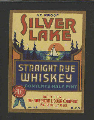 SILVER LAKE STRAIGHT RYE WHISKEY 1/2 Pint ANTIQUE BOTTLE LABEL - UNUSED