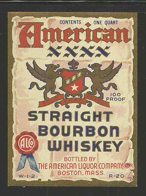 AMERICAN XXXX STRAIGHT BOURBON WHISKEY 1 Quart ANTIQUE BOTTLE LABEL - UNUSED