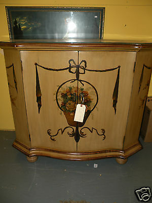 Glass Top Dining Room Buffet Painted Server with Flowers Used Furniture Cabinet