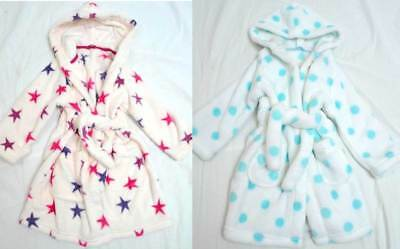 M&S girls bathrobes soft fleece dressing gown various designs and sizes NEW