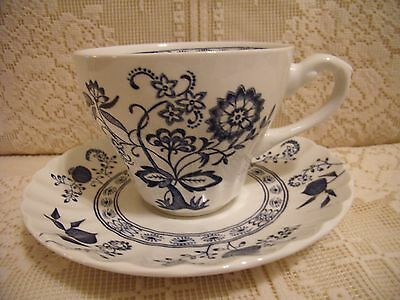 J & G MEAKIN ENGLAND CLASSIC COBALT BLUE NORDIC ONION CUP & SAUCER