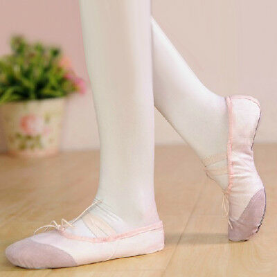 Toddler Girls New Pink Canvas Ballet Dance Shoes Slippers 6inch US Size 9#