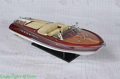 "Riva Aquarama Speed Boat 26"" White Seats-  Wooden Model Boat NEW - High quality"