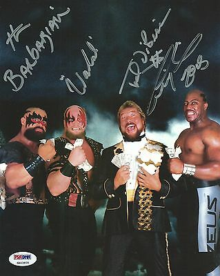 Warlord Barbarian Ted DiBiase Tiny Lister Zeus Signed 8x10 Photo WWE PSA/DNA COA