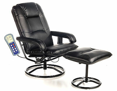 Black Heated Recliner Massage Spa Chair Ottoman Foot Back Pain Relief Vibrator
