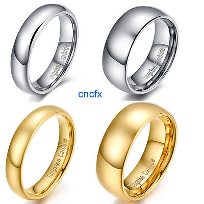 4mm/5mm/8mm 18K Gold&Silver Tungsten Carbide Wedding Band Ring Couple Jewelry