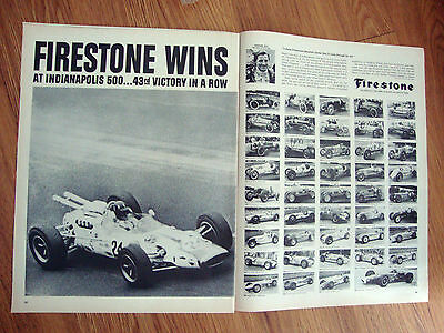 1966 Firestone Tire Ad     Indianapolis Indy 500  Graham Hill