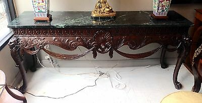Palatial Antique GEORGIAN Carved Lion Head Paw Feet SIDEBOARD Marble Top CONSOLE