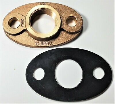"Lead-free Brass Oval 2-bolt Water Meter Flange For 1-1/2"" Water Meter W/Gasket"