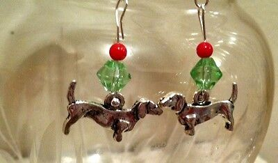 Jolly Doxie Christmas dainty Earrings, .925 Sterling Silver Wires, Dachshund dog