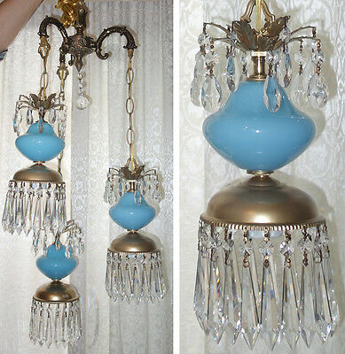 3Lt Vintage Aqua Blue Brass tole hanging swag lamp chandelier Hollywood Regency