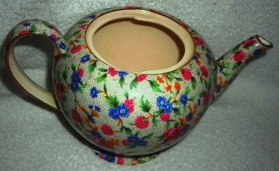Royal Winton Chintz - Old Cottage Teapot With Gold Trim  ~ Missing Lid