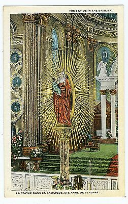 Statue in the Basilica Ste Anne de Beaupre Quebec Canada Vintage Postcard