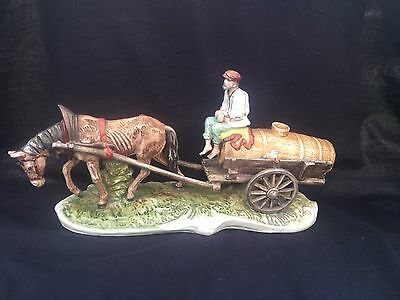 antique porcelain VOLKSTEDT DRESDEN  large carriage -  Horse and wagon  32 cm