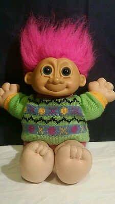 Vintage Russ Large Troll Doll Blue Eyes Outie Belly Button Sweater Pink