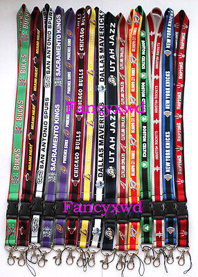 10 X lot of basketball sport logo neck keychain lanyards charms 15 teams choose