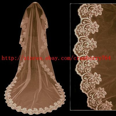 3M Champagne cathedral lace, restore ancient ways the bride's veil