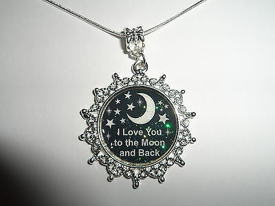 "STERLING SILVER PLATED CHAIN I LOVE YOU TO THE MOON AND BACK  NECKLACE 20"" (1)"
