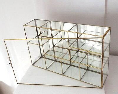 VNTG Glass brass mirror CURIO table-top wall Cabinet display Case stand shelves