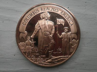 CHRISTOPHER COLUMBUS REACHES AMERICA YOUNG AMERICAN  BRONZE MEDAL FRANKLIN MINT