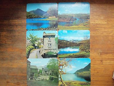 SET OF 6 Vintage UK Clover Leaf Table Mats Placemates CORK Backs Scenes Scenic