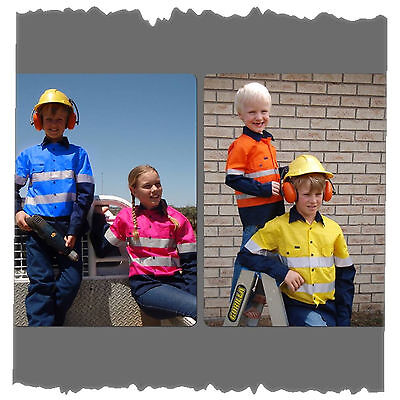 NEW! KIDS HI VIS WORK SHIRT GREAT GIFT! HI VIZ [ALL SIZES] Kids Hi Visibility