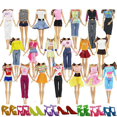Lots 5 Outfits Clothes Jacket Pants 5 Pair Shoes For 11.5 inch 12 inch 1/6 Doll