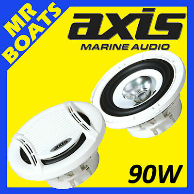 "2x AXIS 4"" MARINE ✱ FLUSH MOUNT ✱ 90W Speaker Flush Mount Boats MA401 FREE POST"
