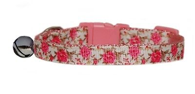 Handmade Very Pretty Pink Roses safety kitten cat  collar