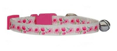 Handmade fabric Very Pretty Pink Flowers  safety kitten cat collar and  bell