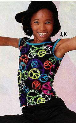 NWT Mesh Cap Sleeve Peace Signs Dance Costume Top Hiphop 2 Colors ch/ladies
