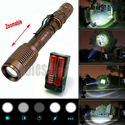 Zoomable Ultrafire 2200 Lumen CREE XML-T6 LED Flashlight Battery+Charger USA