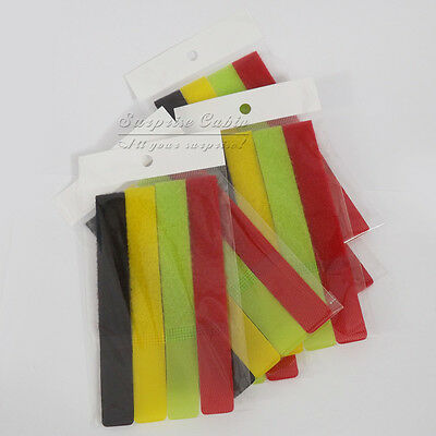 2 Bags 4 mixed Color Velcro Straps Cable Ties Wire Rope Organiser 8pcs Intotal